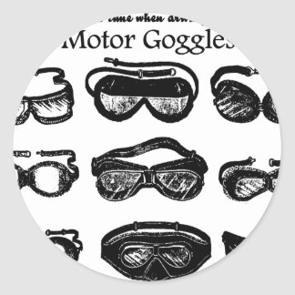 Motor Goggles Text Driving Classic Round Sticker