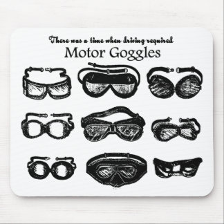 Motor Goggles Text Driving Mouse Pad