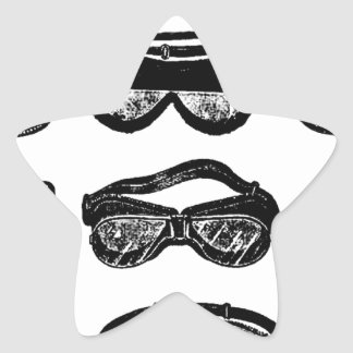 Motor Goggles Text Driving Star Sticker