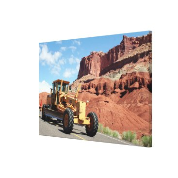 USA Themed Motor grader machinery, Capitol Reef, Utah Canvas Print