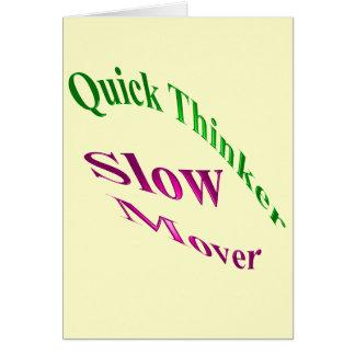 Motor lento del pensador rápido tarjeta de felicitación