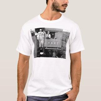 Motor locomotor del tren del vapor del vintage del playera