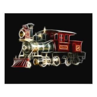 Motor locomotor del tren del vapor tarjetón