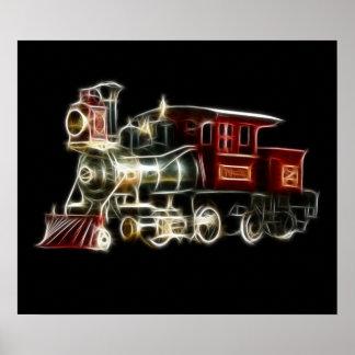 Motor locomotor del tren del vapor póster