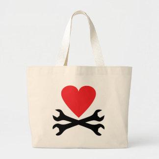 motor mechanic heart icon tote bag