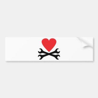 motor mechanic heart icon bumper sticker