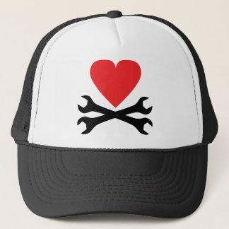 motor mechanic heart icon trucker hat