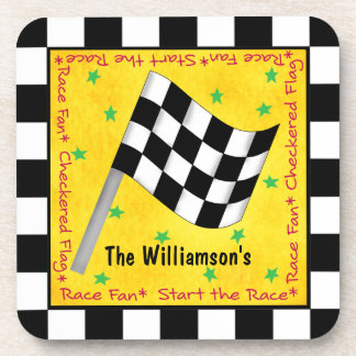 Motor Race Fan Checkered Flag Name Personalized Coasters
