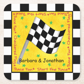 Motor Race Fan Checkered Flag Name Personalized Square Paper Coaster