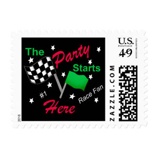 Motor Race Party Checkered Flag Custom Black Postage Stamp