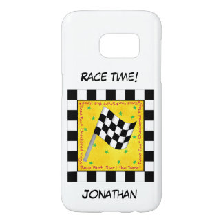 Motor Race Time Black on White Checkered Flag Name Samsung Galaxy S7 Case