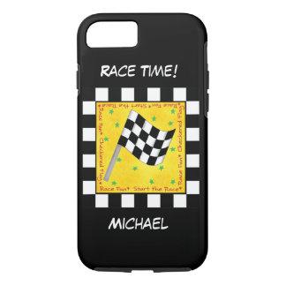 Motor Race Time Black White Checkered Flag Name iPhone 7 Case