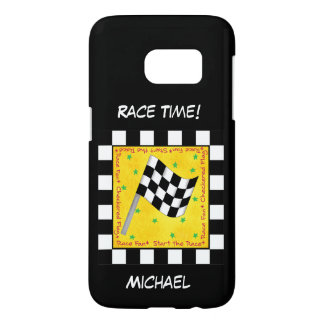 Motor Race Time Black White Checkered Flag Name Samsung Galaxy S7 Case