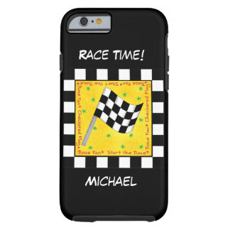 Motor Race Time Black White Checkered Flag Name Tough iPhone 6 Case