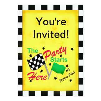 Motor Racing Black White Checkered Flag Invitation