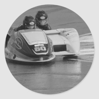 Motor racing sidecar outfit classic round sticker