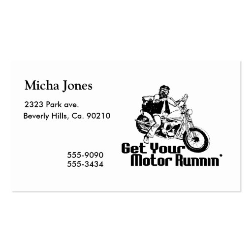 Motor Runnin Motorcycle Business Card Templates