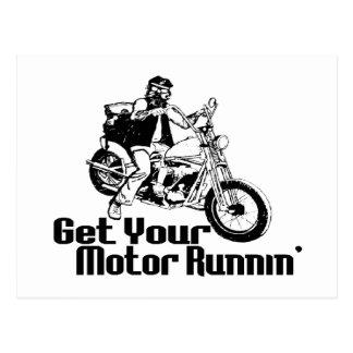 Motor Runnin Motorcycle Postcard