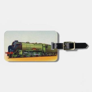 Motor verde del ferrocarril del vintage etiqueta de equipaje