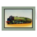 Motor verde del ferrocarril del vintage felicitaciones