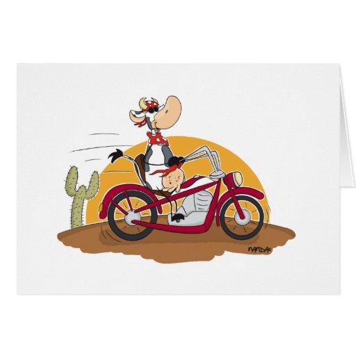 Motorbike Cow Greeting Card