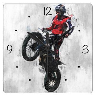 Motorbike trials rider square wall clock