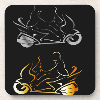 Motorbike with a person wearing helmet coaster