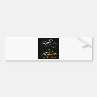Motorbike with abstract lines bumper sticker