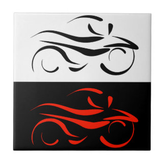 Motorbike with abstract lines ceramic tile