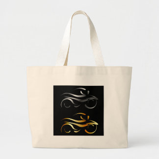 Motorbike with abstract lines large tote bag