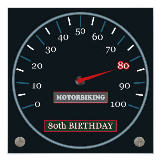 Motorbiking 80th Birthday Invitation