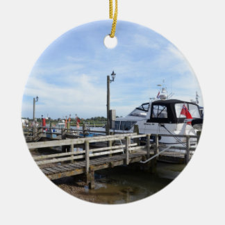 Motorboat On The River Blyth Double-Sided Ceramic Round Christmas Ornament