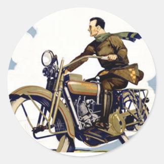 Motorbyke Classic Round Sticker