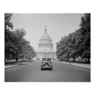 Motorcar at the US Capitol, 1923. Vintage Photo Poster
