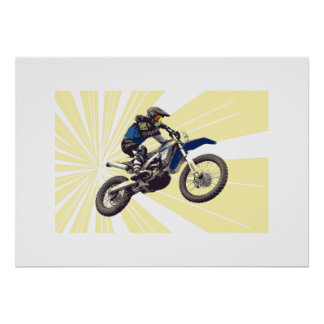 Motorcross Rider on a Pale Yellow Background Poster