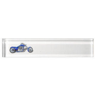 Motorcycle 1 - Blue Desk Name Plate