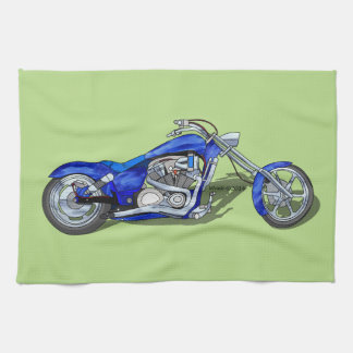 Motorcycle 1 - Blue Hand Towel