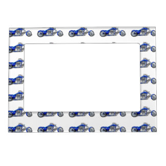 Motorcycle 1 - Blue Magnetic Photo Frame