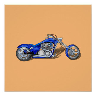 Motorcycle 1 - Blue Poster