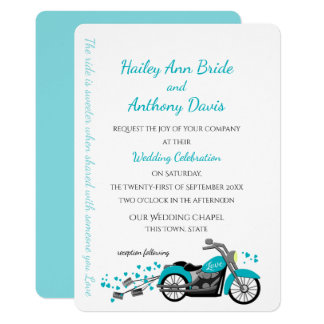 Motorcycle and Hearts Wedding Aqua Invitation