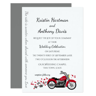 Motorcycle and Hearts Wedding Card