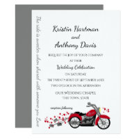 Motorcycle and Hearts Wedding Invitation