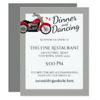 Motorcycle and Hearts Wedding Reception Invitation