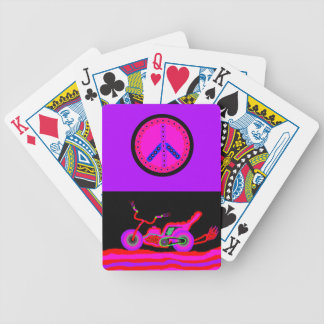 motorcycle and peace sign crd deck bicycle playing cards