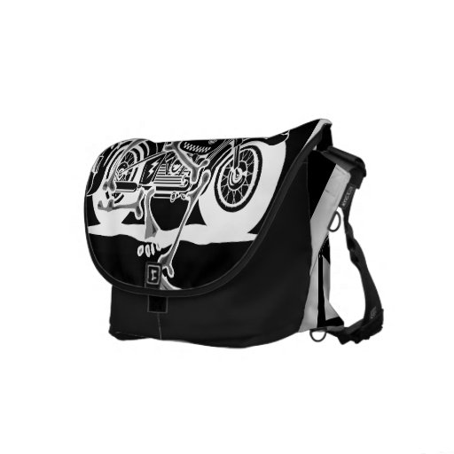Motorcycle and Skeleton Abstract Messenger Bags
