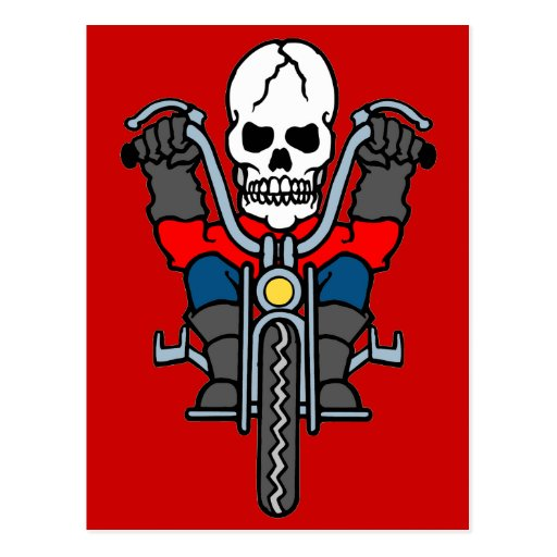 Motorcycle and skull postcard