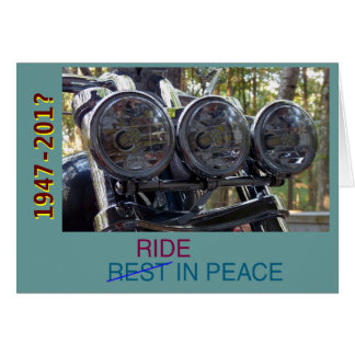 Motorcycle as headstone card