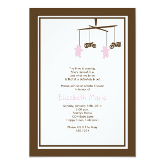 Motorcycle Baby Shower Invitation PINK