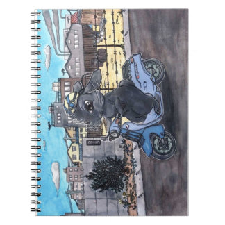 Motorcycle background equipped note of rabbit notebook