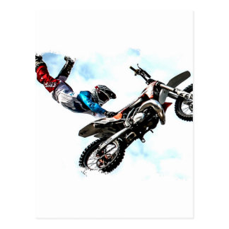 motorcycle biker acrobatic sport racing postcard